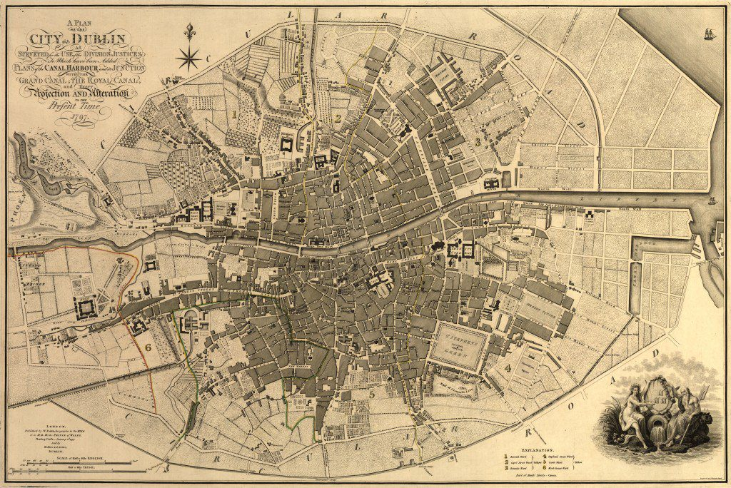 A plan of the city of Dublin : as surveyed for the use of the division[a]l justices to which have been added plans of the canal harbour and its junction with the Grand Canal, the Royal Canal, and every projection and alteration to the present time, 1797