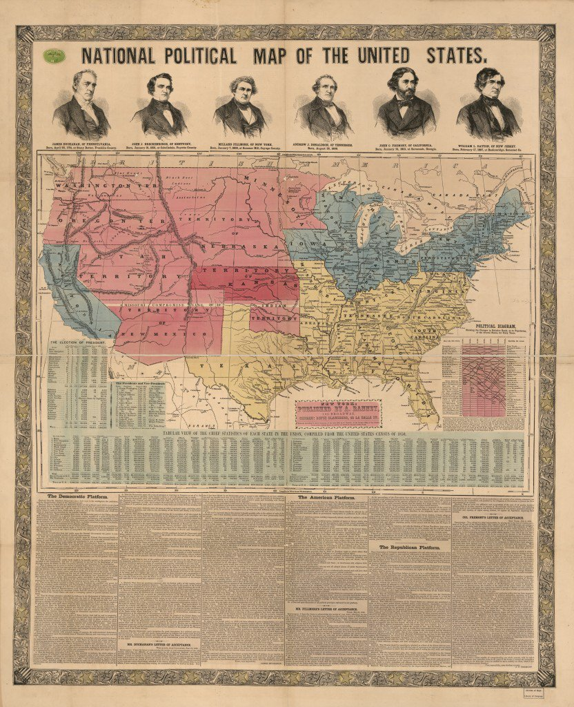 1856 political map of the U.S.