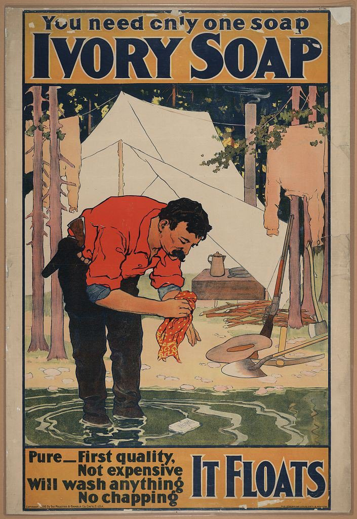 Poster shows a pioneer washing with Ivory soap at his campsite. 1898 advertisement.