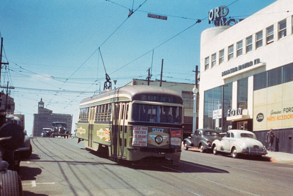 San Diego Electric Railway PCC streetcar on Route 2 travels eastbound on Broadway between 12th Ave. and 13th St. in the late 1940s.