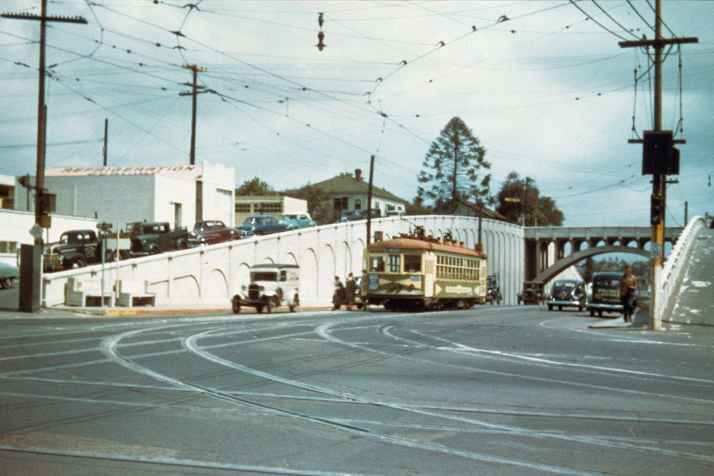 San Diego Electric Railway streetcar on University Ave. at Park Blvd., having just traveled under the Georgia St. bridge in the late 1940s.