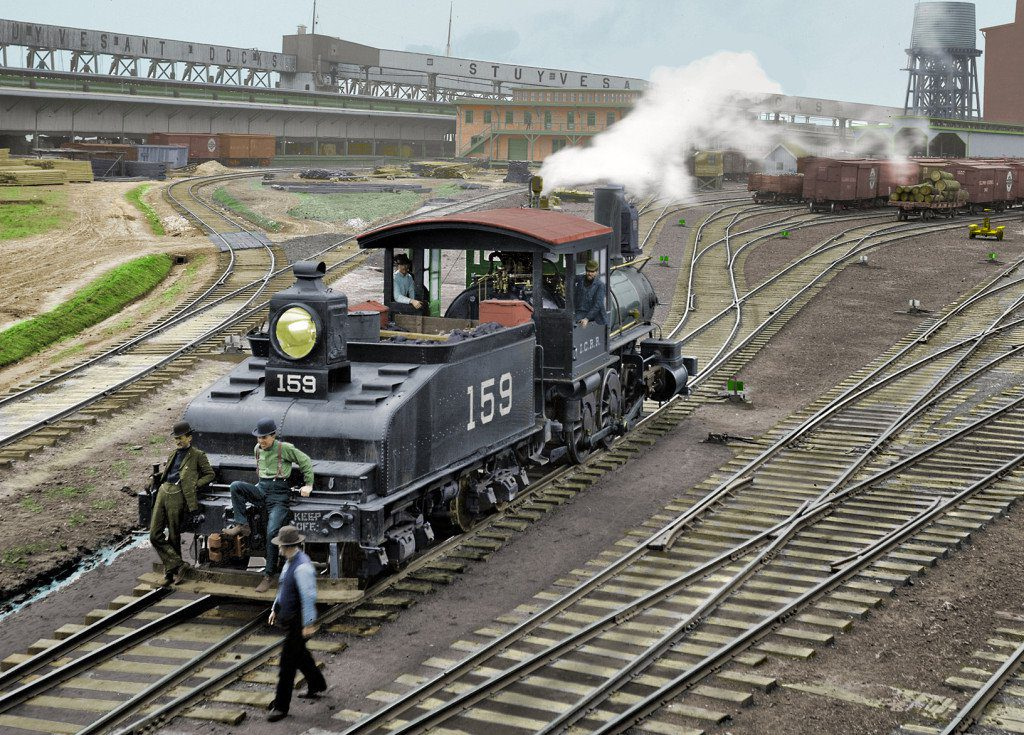 Colorized version of Stuyvesant Dock 1900 New Orleans. Built and operated by the Illinois Central Railroad.