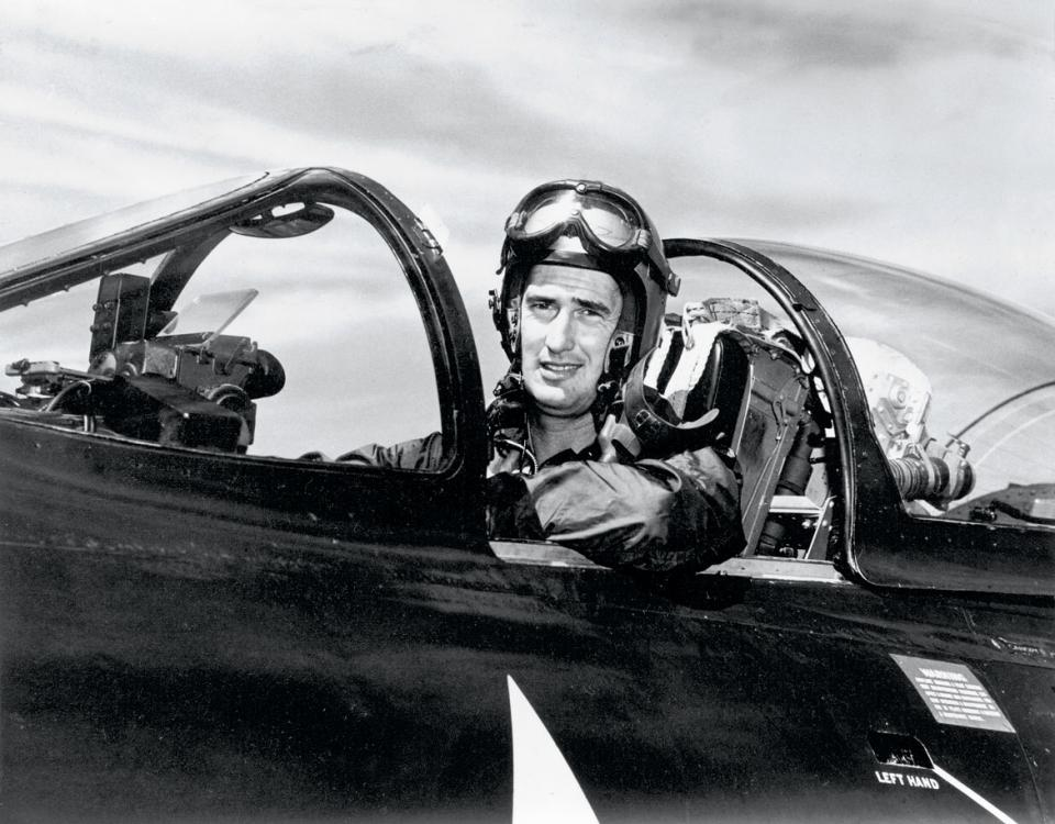 Ted Williams in his U.S. Navy plane