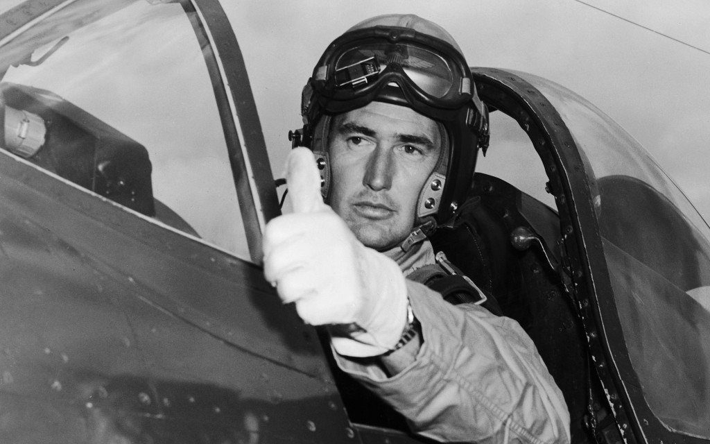 Ted Williams in his fighter jet