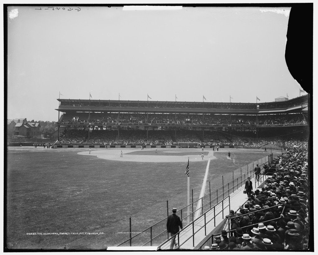 View of Pittsburgh Pirates game from left field bleachers in Forbes Field