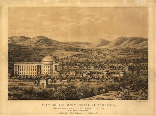 View of the University of Virginia, Charlottesville & Monticello, taken from Lewis Mountain