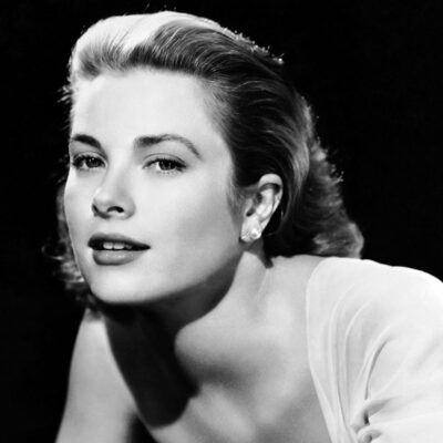 circa 1954: American actress Grace Kelly (1929 - 1982) wearing an off-the-shoulder dress.