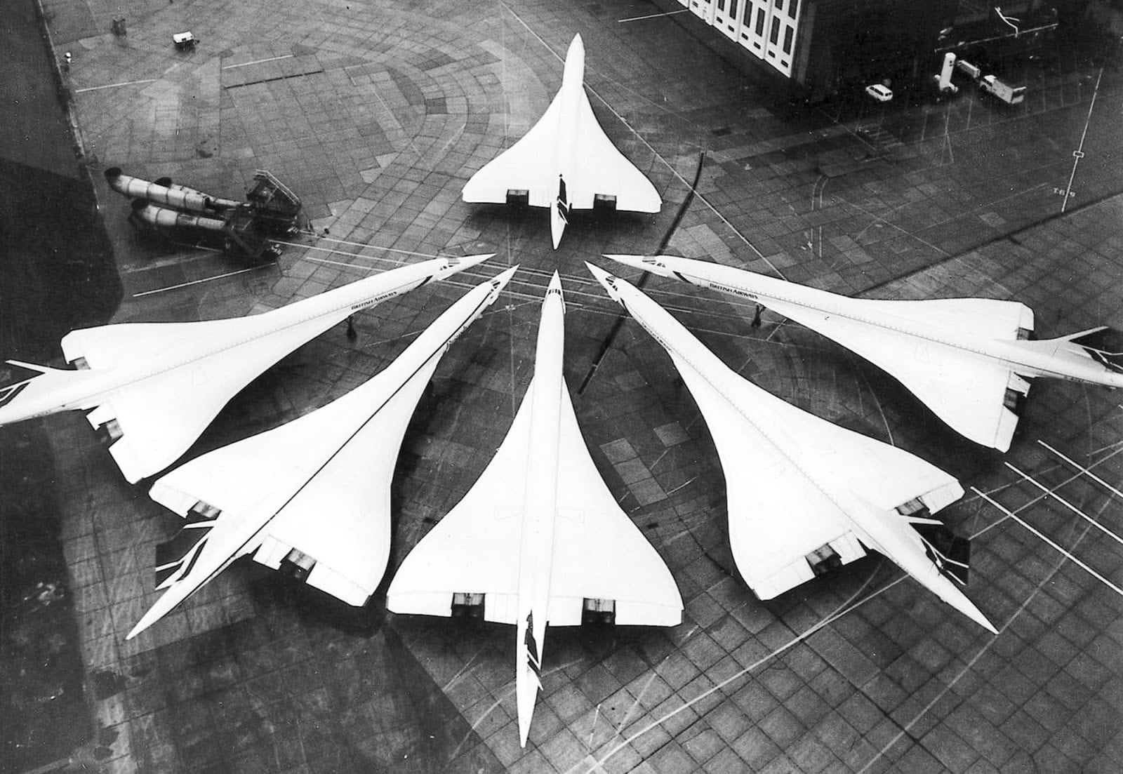 The British Concorde fleet at London Heathrow Airport, January 21, 1986. The occasion was the 10-year anniversary of British Concorde flight service, which began in 1976.