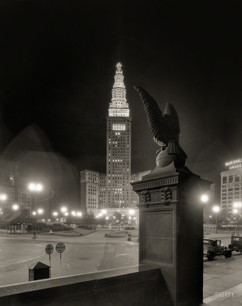 "Cleveland circa 1931. ""View of Terminal Tower at night, with eagle on right."" 8x10 inch acetate negative by Theodor Horydczak."