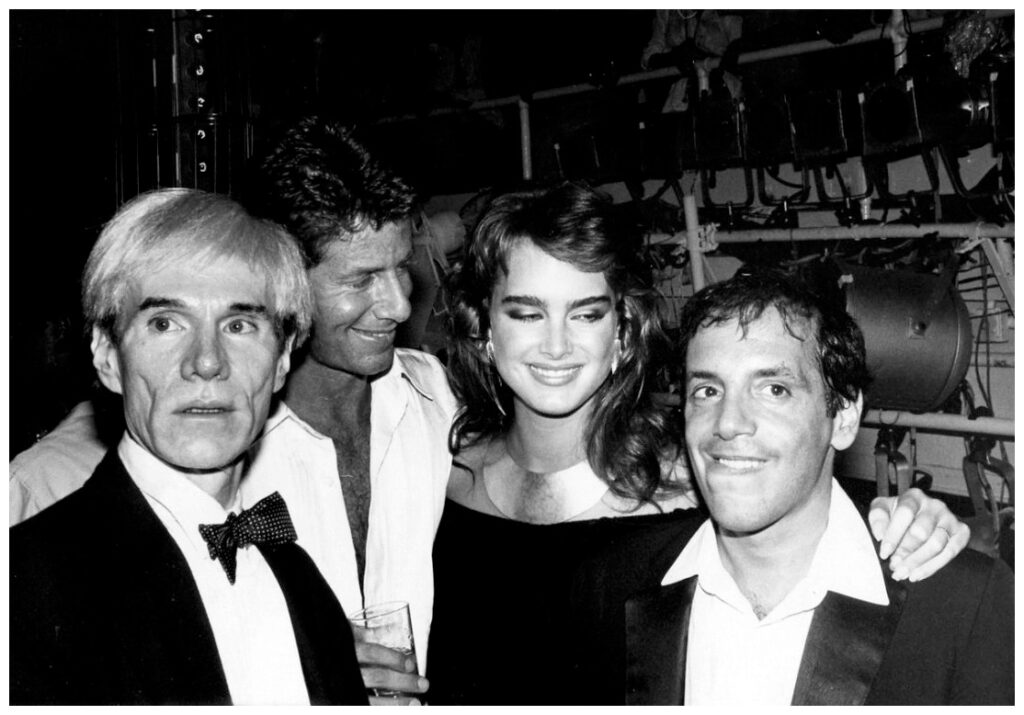 Andy Warhol, Brooke Shields, and Steve Rubell