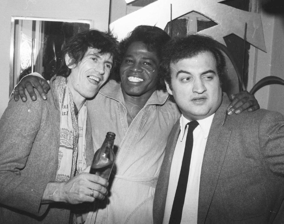 Keith Richards, James Brown, and John Belushi